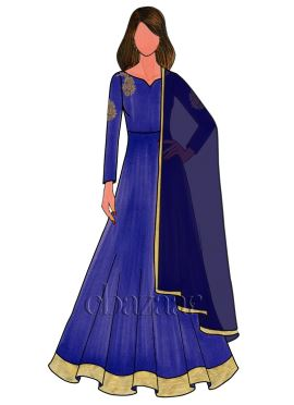 Royal Blue Raw Silk Embroidered Anarkali Suit