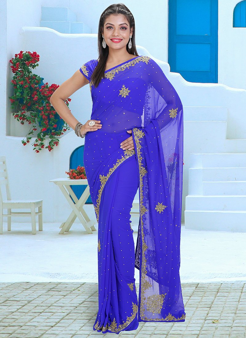 Combo Sari With Stitched Blouse Sequins Work  Georgette Saree With Heavy sequins work Along With Stitched Blouse