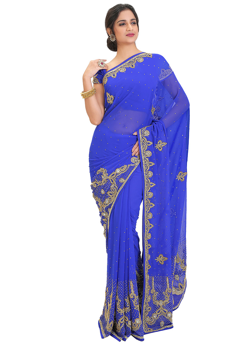 Royal Blue Stones Embellished Saree