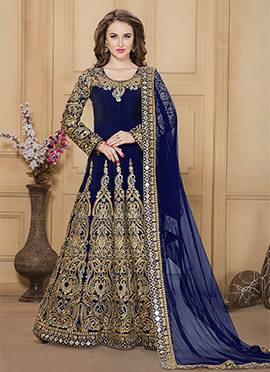 Royal Blue Taffeta Silk Anarkali Suit