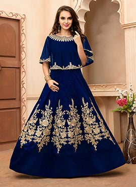 Navy Blue Taffeta Silk Gown