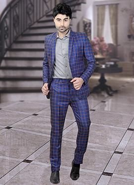 Royal Blue Terry Rayon Lapel Suit