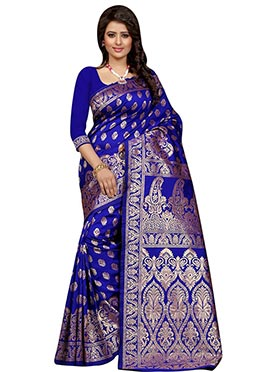 Royal Blue Tussar Silk Saree