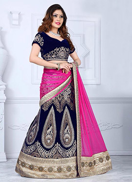 Royal Blue Velvet A Line Lehenga