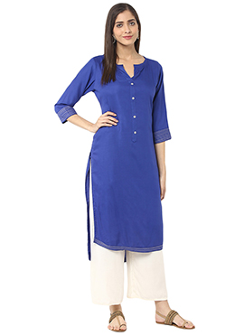 Royal Blue Viscose Asymmetrical Palazzo Set