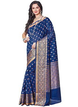 Royal Blue Zari Saree