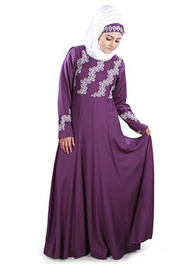 Ruksha Rayon Purple Abaya