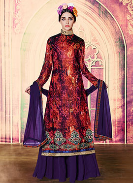 Russian Violet N Orange Velvet Palazzo Suit