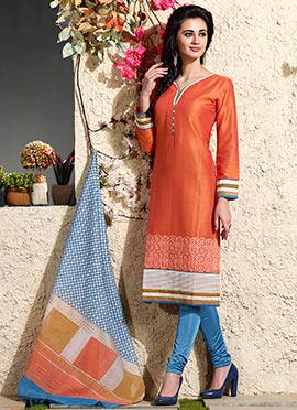 Rust Art Chanderi Silk Cotton Churidar Suit