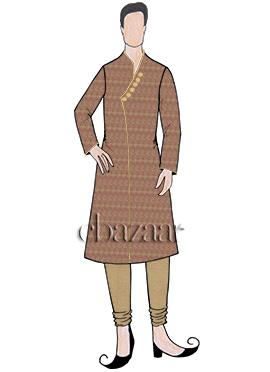 Rust Art Silk Kurta Pyjama Set