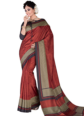 Rust Art Silk Saree