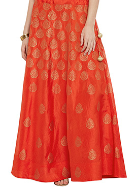 Studiorasa Orange Art Silk Skirt