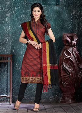 Rust Benarasi Art Silk Churidar Suit