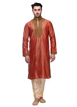 Rust Bhagalpuri Art Silk Kurta Pyjama
