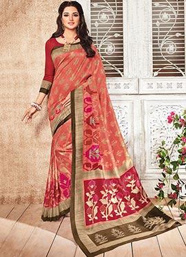 Rust Bhagalpuri Art Silk Saree