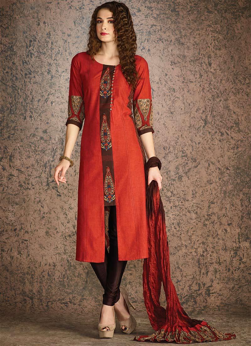 Buy Rust Blended Cotton Churidar Suit Churidar Suit