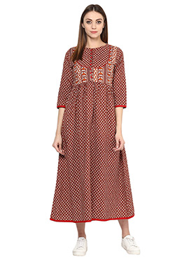 Rust Blended Cotton Dress