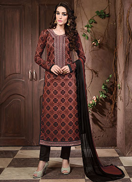 Rust Blended Cotton Straight Suit