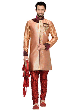 Rust Breeches Style Indowestern Sherwani
