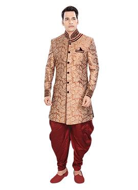 Rust Brocade Patiala Style Sherwani