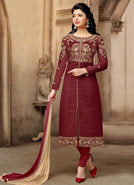 Rust Chanderi Cotton Churidar Suit