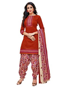 Rust Cotton Salwar Suit