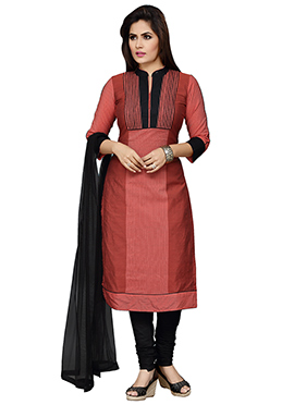 Rust Cotton Silk Churidar Suit