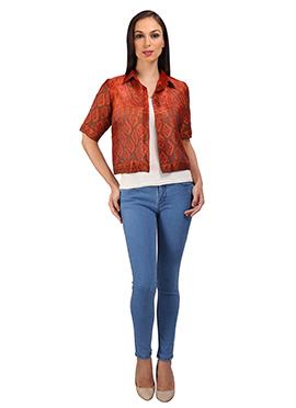 Rust Cotton Silk Jacket
