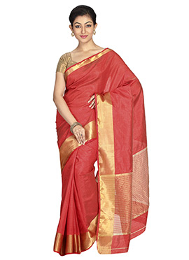 Rust Kancheepuram Art Silk Saree