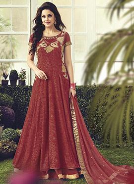 Rust Layered Abaya Style Anarkali Suit