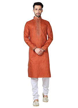 Rust Linen Cotton Kurta Pyjama