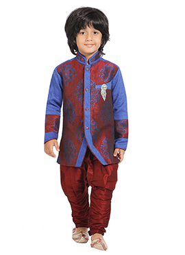 Rust N Blue Breeches Style Kids Sherwani