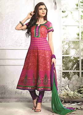 Rust N Magenta Art Silk Cotton Anarkali Suit