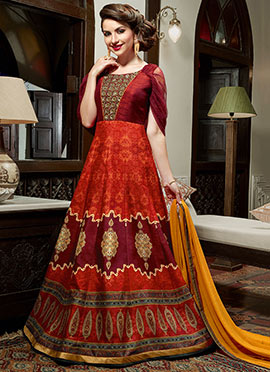 Rust N Maroon Art silk Anarkali Suit