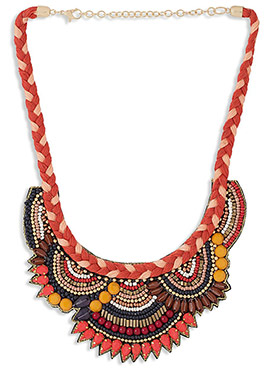 Rust N Multicolored Beads Necklace