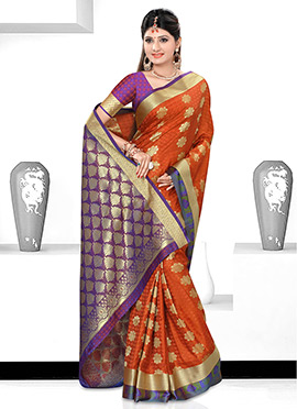 Rust N Purple Art Kancheepuram Silk Saree