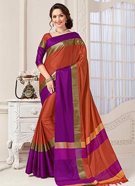 Rust N Purple Art Silk Saree