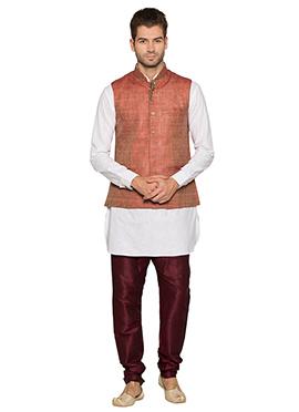 Rust N White Cotton Linen Bandi Set