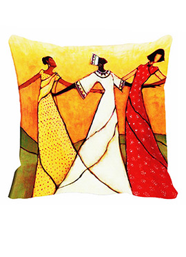 Rust Polyester 3 dancers Cushion Cover