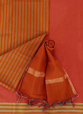 Rust Pure Handloom Cotton Dress Material