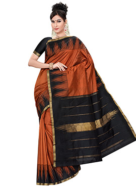 Rust Pure Kancheepuram Silk Border Saree