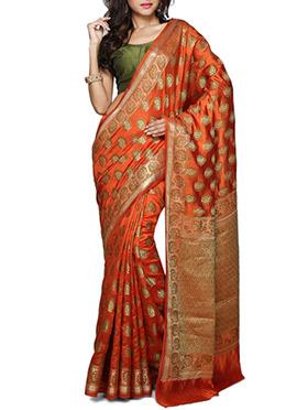 Rust Pure Silk Saree