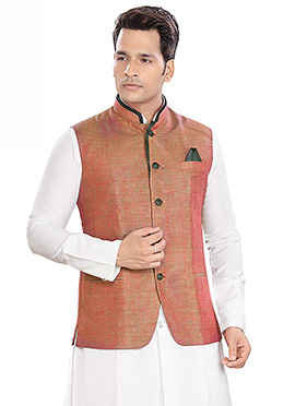 Rust Shaded Nehru Jacket