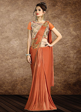 Rust Shimmer Georgette Border Saree