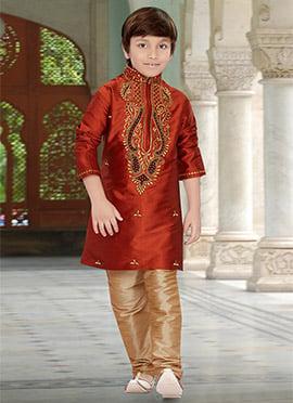 Rust Taffeta Silk Kids Kurta Pyjama