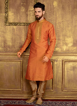 Rusty Orange Art Benarasi Silk Kurta Pyjama