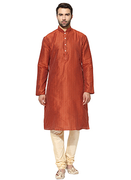 Rusty Orange Art Dupion Silk Kurta