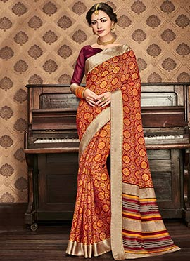 Rusty Orange Art Kota Silk Saree