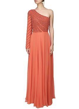 Rusty Orange Georgette One Shoulder Gown