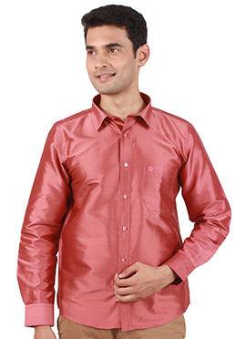 Rusty Pink Pure Raw Silk Shirt